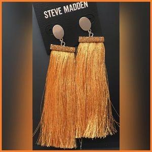 🏷 NEW Steve Madden Mustard Tassel Thread Earrings